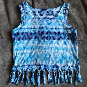 Girls Xhilaration Tie Dye Fringe Tank Top
